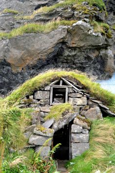Abandoned Elf house in Iceland near the Drangshlid Rock.