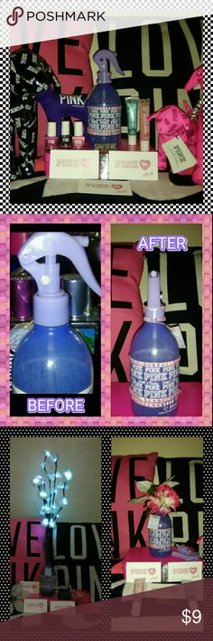PINK VS ROOM SPRAY EMPTY BOTTLE THIS IS ANOTHER ROOM SPRAY EMPTY BOTTLE PLS LOOK AT PICS TO SEE WHAT IDEAS OF WHAT U CAN PUT OR USE IT FOR ONCE AGAIN U CAN USE IT FOR ADDING TO UR PINK COLLECTION AS DECORATING IT WITH NICE PRETTY FLOWERS OR USE IT TO WET UR HAIR OR MIST UR PLANT OR PUT SOME BABY OIL TO GET A NICE TAN WHEN U GO TO THE BEACH OR POOL INSTEAD OF POURING BABY OIL FROM THE BOTTLE U COULD JUST SPRAY THE BABY OIL ON UR BODY JUST AN IDEA   ♦MUST HAVE A RATING HISTORY TO PURCHASE 5-15…