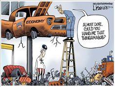 OBAMA CARTOONS: Conservative Political Humor: Wrecking the Economy: Obama the Amateur Mechanic