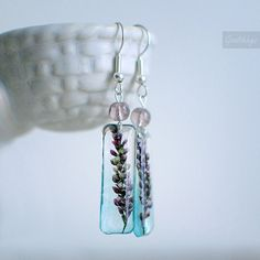 Pressed flower resin earrings  transparent pink by Goodthings88, $28.00