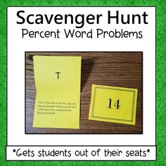 Percent Word Problems  Scavenger Hunt is motivating and gets students out of their seats. Students love this activity because they get to move around, work at their own pace, think its a game, and get immediate feedback. - Simone's Math Resources #SimonesMathResources