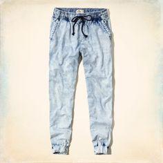 Girls Hollister Denim Jogger Pants | Girls Jeans & Bottoms | HollisterCo.com