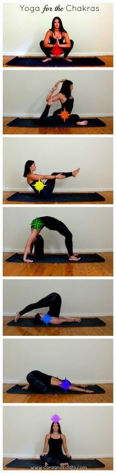 Yoga poses for each of the chakras http://coraandbodhi.com/chakras-at-a-glance/ #Yoga Pin/Via