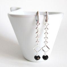 brincos cristais pretos | prata