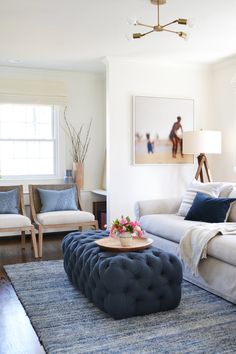 Sometimes even we can't believe the transformation a room takes- and this room is one of them. We had so much fun on this project with our LOVELY client Jeanne. She has the most beautiful, quaint home with a family room that had a tricky dividing and load-bearing wall. This wall made for a c
