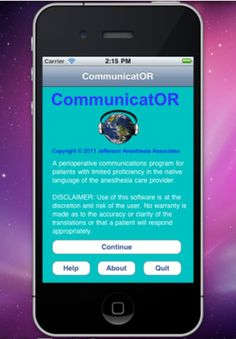 CommunicatOR iPhone and iPad app by Jefferson Anesthesia Associates. Genre: Medical application. Price: $9.99. http://click.linksynergy.com/fs-bin/stat?id=gtf1QuAg8bk=146261=3=0=1826_PARM1=http%3A%2F%2Fitunes.apple.com%2Fapp%2Fcommunicator%2Fid417105337%3Fuo%3D5%26partnerId%3D30