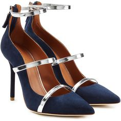 Malone Souliers Suede Pumps ($515) found on Polyvore featuring women's fashion, shoes, pumps, heels, scarpe, blue, silver metallic pumps, blue suede shoes, pointed toe pumps and stiletto heel pumps