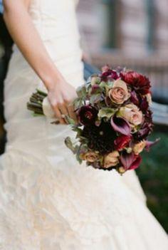 Burgundy & dusky pink vintage rose bouquet....gorgeous colours