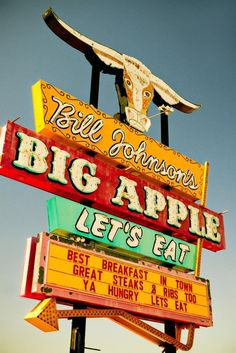Bill Johnson's Big Apple Neon Diner Sign Retro Kitchen Decor Wall Art