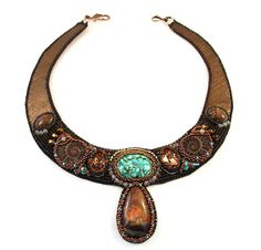 Bead embroidery, statement  necklace, choker, prom, bridesmaid, coctail, with turquoise, ammonites, jasper and Swarovski MADE TO ORDER