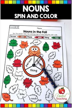 Types of Nouns Spin and Color Grammar Activity