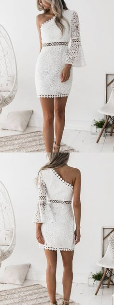 One Shoulder Homecoming Dresses Sheath Lace Short Prom Dress Fashion Party Dress - Dresses Short, Short Mini Dress, Trendy Dresses, Fashion Dresses, Prom Dresses, Summer Dresses, Wedding Dresses, Dress Prom, Future Fashion