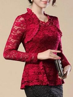 Streetstyle Casual 4 Color Ruffled Lace Plain Cowl Neck Solid Plain Blouse Cheap Blouses, Shirt Blouses, Blouses For Women, Blouse Online, Casual Fall Outfits, Blouse Styles, Lace Tops, Cowl Neck, Fashion News