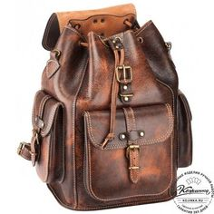 """Leather backpack """"Patriot"""" (brown exclusive) - 1 Source by Leather Purses, Leather Handbags, Leather Wallet, Leather Totes, Leather Bags Handmade, Leather Craft, Steampunk Accessoires, Vintage Leather Backpack, Backpack Bags"""