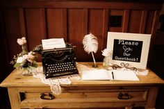Typewriter.  Feather pen.  Wedding guestbook.  Romantic Vintage Wedding in Pray, Montana