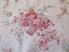 Antique 19th Century French Beautiful Mixed Floral Bouquets Baskets Fabric | eBay