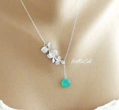 Birthstone Orchid Necklace, Dainty STERLING Silver Necklace, bridesmaid gifts, Wedding jewelry, Bridal jewelry, Wife, Mother's Day on Etsy, $34.00