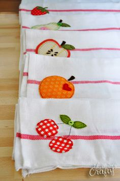 Good heavens, it's been go, go, go around here. I've been doing a lot of canning which gave me the idea to make some cute simple towels. I'm pretty sure all of our kitchen towels are from our wedding almost nine years ago, so we're due. I doodled these fun little fruit shapes and my …
