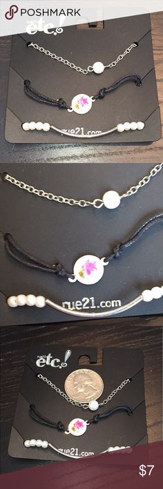 New 3 piece dainty bracelet set New bracelet that so raven pearls one stretch to have hooks one card by rue 21. Rue 21 Jewelry Bracelets