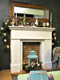 faux fireplace with wood at back - love  this type of pattern with the wood... then put a mirror up on it, SO PRETTY!!!  @Mary Murphy