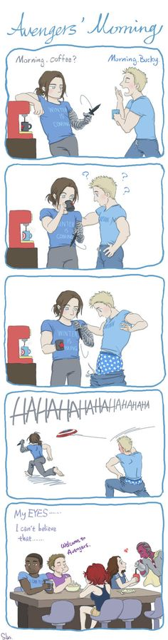 "Avengers' Morning by SilasSamle on DeviantArt << we're not going to discuss how Bucky's shirt says ""Winter's coming""!?!?<<< all their shirts are perfect"
