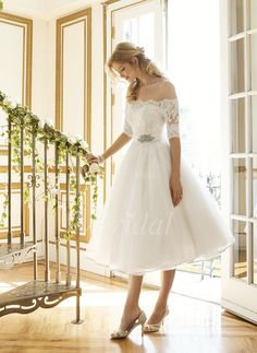 A-Line/Princess Off-the-Shoulder Tea-Length Tulle Lace Wedding Dress With Beading - vbridal Great for a Reception dress Beautiful Party Dresses, Cheap Party Dresses, Party Dresses Online, Sexy Dresses, Vintage Dresses, Evening Dresses, Dress Online, Fashion Dresses, Tea Length Wedding Dress
