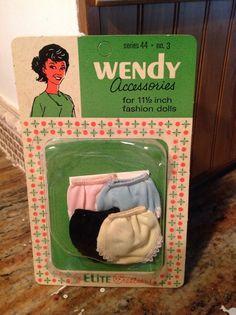 1960s Elite Creations Wendy Accessories Series 44 No. 3 - Barbie Clone - 4 Pair Panties / Underwear - Pink, Blue, Black and White/Cream | eBay