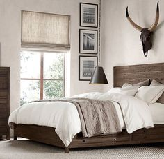 Bedroom Sets Restoration Hardware wood bed collections | # decor + mirrows / miroirs / espejos
