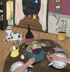 xxxSome salad, wine and a dog.
