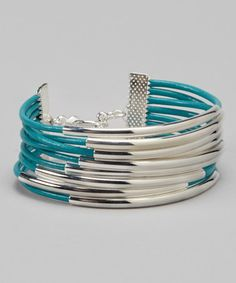 Take a look at this Turquoise & Silver Leather Bracelet by Farfan Jewelry on #zulily today!