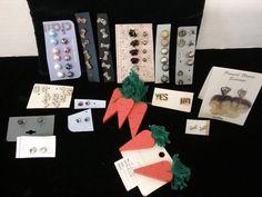 Big lot of pierced earring sets pansy flower & carrots rhinestone numbers & more  | eBay
