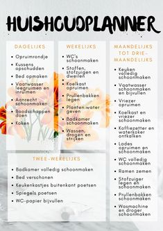 A handy household planner Esmée Lifestyle - Modern Tips And Tricks, Lifehacks, Housekeeping Tips, Flylady, Home Organisation, Home Management, Getting Organized, Clean House, Good To Know