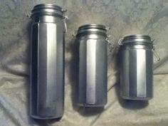 3 Silver Blue Panel Glass Canister Canning Storage Jar Rubber Seal Wire Spagheti #VintageCobaltBluePanelGlass