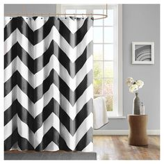 Leo Zig Zag Print Microfiber Shower Curtain  For my Twin Peaks bathroom