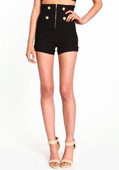Matelot Zip Shorts, BLACK, large omg love high waised shorts the best