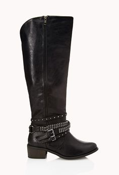 Secret Rebel Boots | FOREVER21 Giving you the boot #FauxLeather #Studs #Buckles #Fall