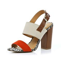 Red chunky strap block heel sandals - heels - shoes / boots - women