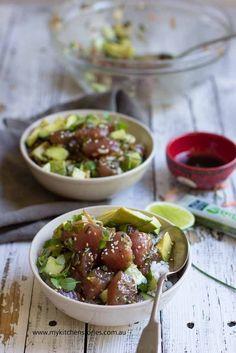 Tuna Poke Bowls @FoodBlogs