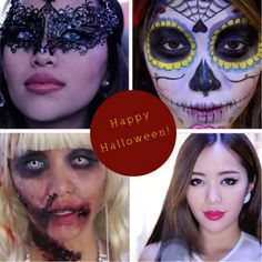 Halloween, makeup tutorial, Michelle Phan, masquerade, sugar skull, zombie barbie, Kpop star
