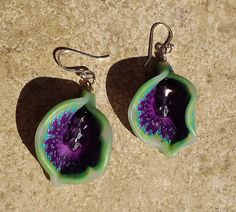 Purple and Green Tropical flower earrings with by beadsbyme4u, $14.00