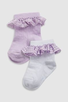 Buy Lilac/White Frill Socks Two Pack (Younger) from the Next UK online shop