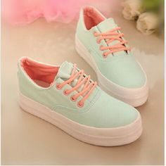 Womens Sport Lace Up Canvas Shoes Round Toe Platform Flat Sneaker Solid Loafers Pretty Shoes, Beautiful Shoes, Cute Shoes, Me Too Shoes, Girls Sneakers, White Sneakers, Sock Shoes, Shoe Boots, Kawaii Shoes