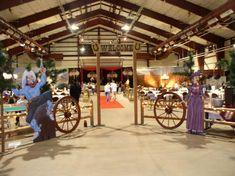 Western/cowboy wedding ideas | Cowboy cut-outs, split rail fence, wagon wheels, western backdrops and ...