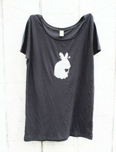 A lovely bunny rabbit screenprinted on a womens scoop neck charcoal grey organic cotton alternative apparel t-shirt for a nature lover. rabbit printed with white ink. This series of inspiring and animals and plants were created to celebrate the beauty of nature in the form of super sweet screenprinted tshirt.