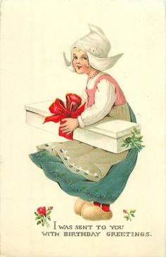Dutch girl faces left, looking front, with parcel - TuckDB Postcards Images Vintage, Vintage Cards, Vintage Postcards, Fete Pascal, Girl Birthday Cards, Easter Art, Decoupage Vintage, Wow Art, Vintage Easter