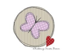 Schmetterling Doodle Stickmuster für eine Stickmaschine. Butterfly Doodle Appliqué embroidery for embroidery machines.
