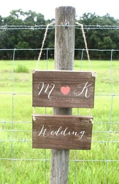 Rustic Wooden Wedding Signs Set of 2 - Two Tier Set - Custom Made For You via Etsy