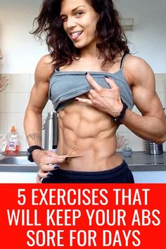 If you're looking for a way to get abs fast, look no further than these 5 exercises. These 5 exercises guarantee to make your abs sore for days. Get Abs Fast, How To Get Abs, Belly Fat Loss, Lose Belly Fat, Six Pack Abs Workout, Core Workouts, Workout Routines, Workout Ideas, Abs Women