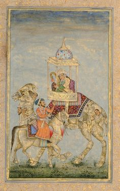 An Indian prince on horseback with princess on a composite camel. Mughal Paintings, Indian Paintings, Indian Prince, Thai Art, Islamic Art, Indian Art, Traditional Art, Art Drawings, Illustration Art