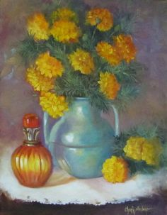 Still Life Painting of Marigolds and Turquoise by ChatterBoxArt, $195.00